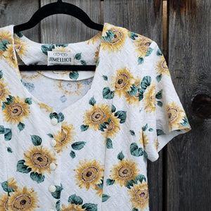 Vintage Jim Elliot Sunflower Textured Dress
